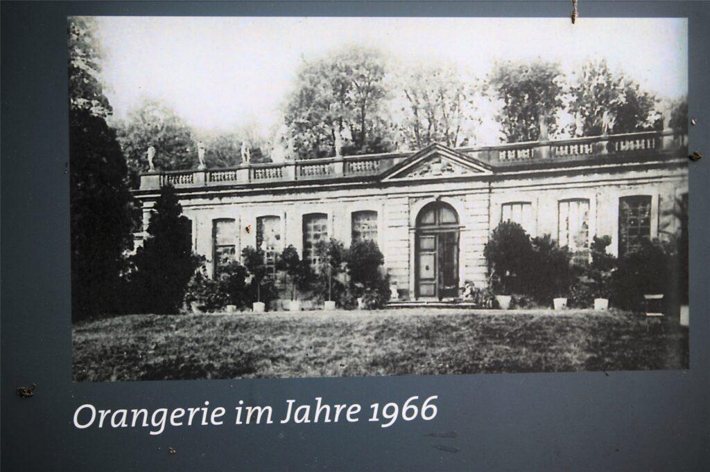 So sah die Orangerie noch im Jahre 1966 aus. Erst ab 1977 begann der Verfall, bis das Gebäude aus dem Jahre 1725 komplett einstürzte.