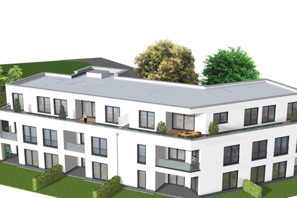 Hier eine weitere Planungsansicht der Wohnanlage an der Schneeberger Straße.