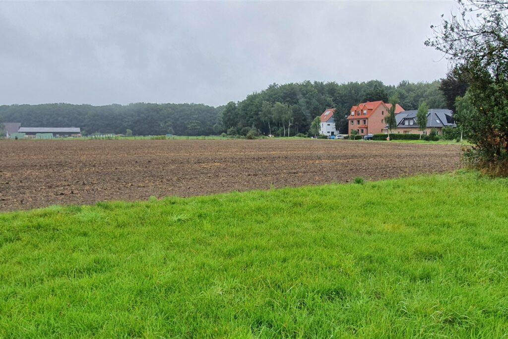 Ein Blick über die Wiesen und Felder in Richtung Polsumer Straße: Hier soll eine Wohnsiedlung entstehen. Hinten links ist der Stall der Pferdesportgemeinschaft zu sehen.